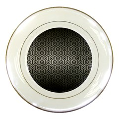 Hexagon1 Black Marble & Gray Metal 1 (r) Porcelain Plates by trendistuff