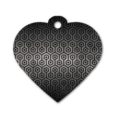 Hexagon1 Black Marble & Gray Metal 1 (r) Dog Tag Heart (one Side) by trendistuff