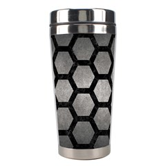 Hexagon2 Black Marble & Gray Metal 1 (r) Stainless Steel Travel Tumblers by trendistuff