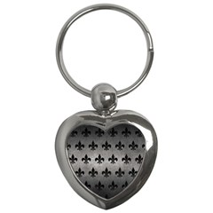 Royal1 Black Marble & Gray Metal 1 Key Chains (heart)  by trendistuff