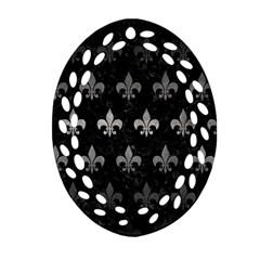 Royal1 Black Marble & Gray Metal 1 (r) Ornament (oval Filigree) by trendistuff