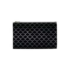 Scales1 Black Marble & Gray Metal 1 Cosmetic Bag (small)  by trendistuff