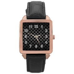 Scales1 Black Marble & Gray Metal 1 Rose Gold Leather Watch  by trendistuff