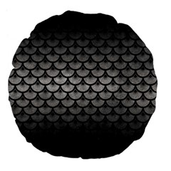 Scales3 Black Marble & Gray Metal 1 (r) Large 18  Premium Flano Round Cushions by trendistuff