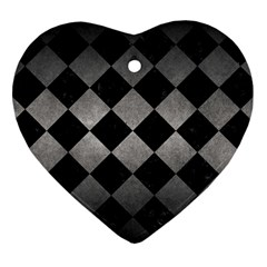 Square2 Black Marble & Gray Metal 1 Heart Ornament (two Sides) by trendistuff