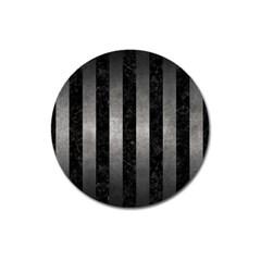 Stripes1 Black Marble & Gray Metal 1 Magnet 3  (round) by trendistuff