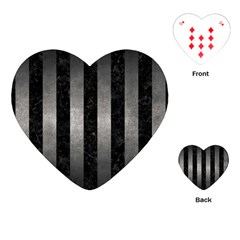 Stripes1 Black Marble & Gray Metal 1 Playing Cards (heart)  by trendistuff