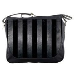 Stripes1 Black Marble & Gray Metal 1 Messenger Bags