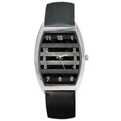 Stripes2 Black Marble & Gray Metal 1 Barrel Style Metal Watch by trendistuff