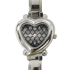 Tile1 Black Marble & Gray Metal 1 (r) Heart Italian Charm Watch by trendistuff