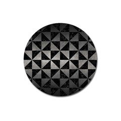 Triangle1 Black Marble & Gray Metal 1 Magnet 3  (round)