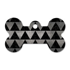 Triangle2 Black Marble & Gray Metal 1 Dog Tag Bone (one Side) by trendistuff
