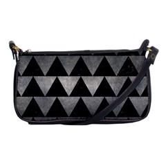 Triangle2 Black Marble & Gray Metal 1 Shoulder Clutch Bags by trendistuff