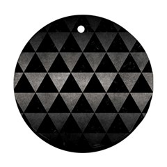 Triangle3 Black Marble & Gray Metal 1 Round Ornament (two Sides) by trendistuff