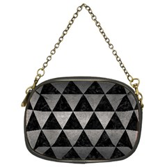 Triangle3 Black Marble & Gray Metal 1 Chain Purses (two Sides)  by trendistuff