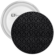 Hexagon1 Black Marble & Gray Leather 3  Buttons by trendistuff