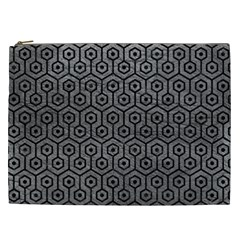 Hexagon1 Black Marble & Gray Leather (r) Cosmetic Bag (xxl)  by trendistuff