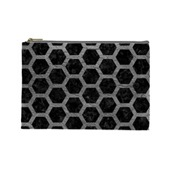 Hexagon2 Black Marble & Gray Leather Cosmetic Bag (large)  by trendistuff