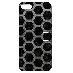 Hexagon2 Black Marble & Gray Leather Apple Iphone 5 Hardshell Case With Stand by trendistuff