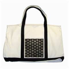 Hexagon2 Black Marble & Gray Leather (r) Two Tone Tote Bag by trendistuff