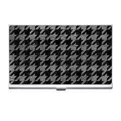 Houndstooth1 Black Marble & Gray Leather Business Card Holders by trendistuff