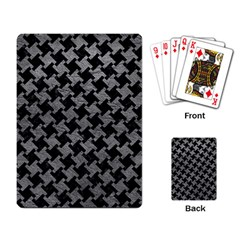 Houndstooth2 Black Marble & Gray Leather Playing Card by trendistuff
