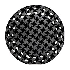 Houndstooth2 Black Marble & Gray Leather Ornament (round Filigree) by trendistuff
