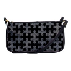 Puzzle1 Black Marble & Gray Leather Shoulder Clutch Bags by trendistuff