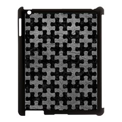 Puzzle1 Black Marble & Gray Leather Apple Ipad 3/4 Case (black) by trendistuff