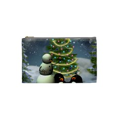 Funny Snowman With Penguin And Christmas Tree Cosmetic Bag (small)  by FantasyWorld7