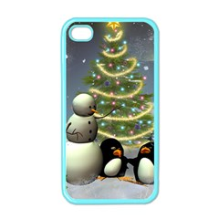 Funny Snowman With Penguin And Christmas Tree Apple Iphone 4 Case (color) by FantasyWorld7