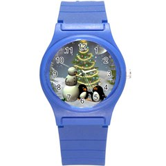Funny Snowman With Penguin And Christmas Tree Round Plastic Sport Watch (s) by FantasyWorld7