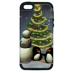 Funny Snowman With Penguin And Christmas Tree Apple Iphone 5 Hardshell Case (pc+silicone) by FantasyWorld7