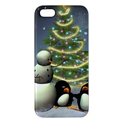 Funny Snowman With Penguin And Christmas Tree Apple Iphone 5 Premium Hardshell Case by FantasyWorld7