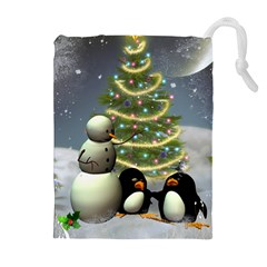 Funny Snowman With Penguin And Christmas Tree Drawstring Pouches (extra Large) by FantasyWorld7