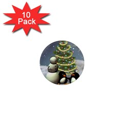 Funny Snowman With Penguin And Christmas Tree 1  Mini Magnet (10 Pack)  by FantasyWorld7