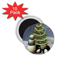 Funny Snowman With Penguin And Christmas Tree 1 75  Magnets (10 Pack)  by FantasyWorld7