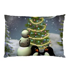 Funny Snowman With Penguin And Christmas Tree Pillow Case by FantasyWorld7