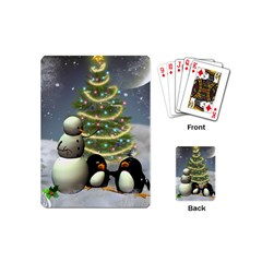 Funny Snowman With Penguin And Christmas Tree Playing Cards (mini)  by FantasyWorld7