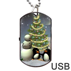 Funny Snowman With Penguin And Christmas Tree Dog Tag Usb Flash (two Sides) by FantasyWorld7