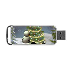 Funny Snowman With Penguin And Christmas Tree Portable Usb Flash (one Side) by FantasyWorld7