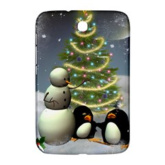 Funny Snowman With Penguin And Christmas Tree Samsung Galaxy Note 8 0 N5100 Hardshell Case  by FantasyWorld7
