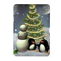 Funny Snowman With Penguin And Christmas Tree Samsung Galaxy Tab 2 (10 1 ) P5100 Hardshell Case  by FantasyWorld7