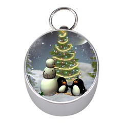 Funny Snowman With Penguin And Christmas Tree Mini Silver Compasses by FantasyWorld7