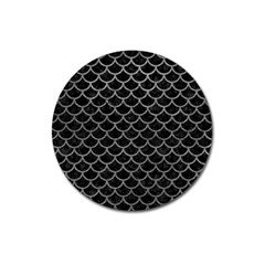 Scales1 Black Marble & Gray Leather Magnet 3  (round) by trendistuff