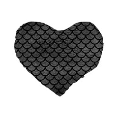 Scales1 Black Marble & Gray Leather (r) Standard 16  Premium Flano Heart Shape Cushions by trendistuff