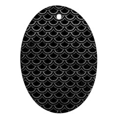 Scales2 Black Marble & Gray Leather Ornament (oval) by trendistuff