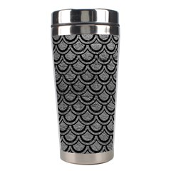 Scales2 Black Marble & Gray Leather (r) Stainless Steel Travel Tumblers by trendistuff