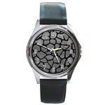 SKIN1 BLACK MARBLE & GRAY LEATHER Round Metal Watch