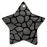 SKIN1 BLACK MARBLE & GRAY LEATHER Ornament (Star)